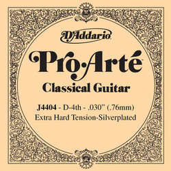 D'Addario J4404 Silver Wound Classical Guitar Single String - Extra-Hard Tension D' or 4th