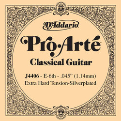 D'Addario J4406 Silver Wound Classical Guitar Single String - Extra-Hard Tension E' or 6th