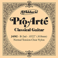 D'Addario J4502 Clear Nylon Classical Guitar Single String - Normal Tension B' or 2nd