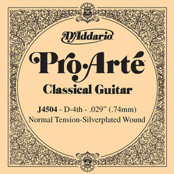 D'Addario J4504 Silver Wound Classical Guitar Single String - Normal Tension D' or 4th