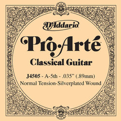 D'Addario J4505 Silver Wound Classical Guitar Single String - Normal Tension A' or 5th