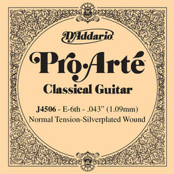 D'Addario J4506 Silver Wound Classical Guitar Single String - Normal Tension E' or 6th