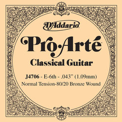 D'Addario J4706 Bronze Wound Classical Guitar Single String - Normal Tension E' or 6th