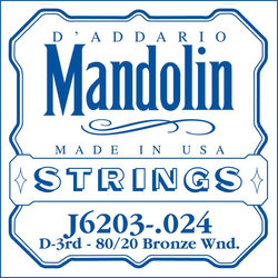 D'Addario J6203 80/20 Bronze Wound Mandolin Single String - D' or 3rd