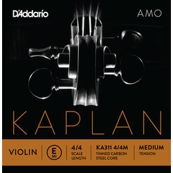 D'Addario Kaplan Amo Violin E String - 4/4 Scale, Medium Tension
