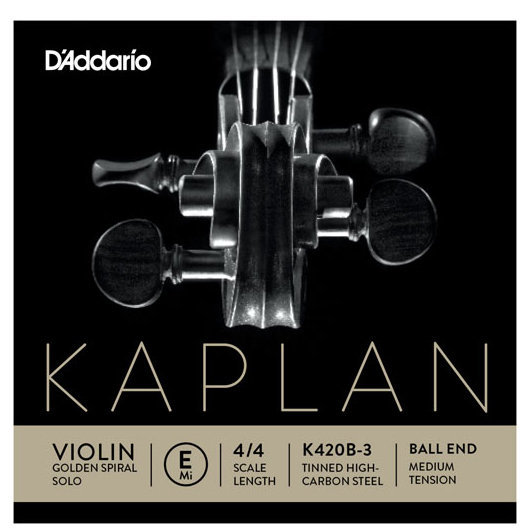 View larger image of D'Addario Kaplan Golden Spiral Solo Loop End Violin Aluminum Wound E String - 4/4 Scale, Medium Tension