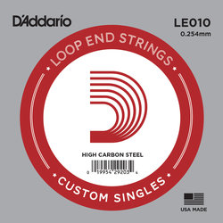 D'Addario LE010 Loop End Plain Steel Single String - 10