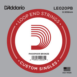 D'Addario LE020PB Loop End Single Guitar String - Phosphor Bronze, 20