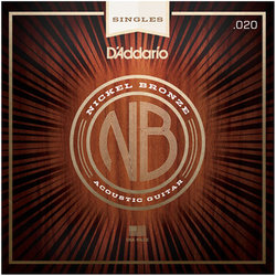 D'Addario NB020 Nickel Bronze Wound Single Acousic Guitar String - 20