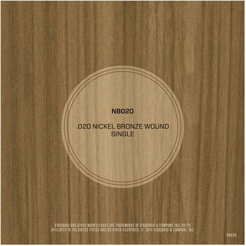 View larger image of D'Addario NB020 Nickel Bronze Wound Single Acousic Guitar String - 20