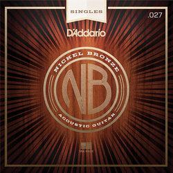 D'Addario NB027 Nickel Bronze Wound Single Acousic Guitar String - 27