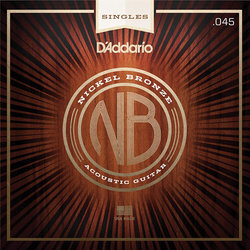 D'Addario NB045 Nickel Bronze Wound Single Acousic Guitar String - 45