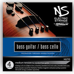 D'Addario NS Electric Bass/Cello Single Low B String - 4/4 Scale, Medium Tension