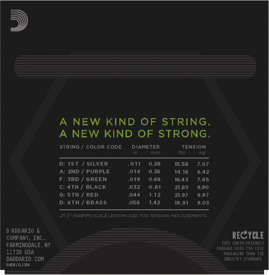 View larger image of D'Addario NYXL1156 Nickel Wound Electric Strings - Medium Top / Extra Heavy Bottom - 11-56
