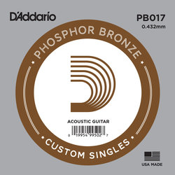 D'Addario PB017 Phospher Bronze Wound Single Acoustic Guitar String - 17