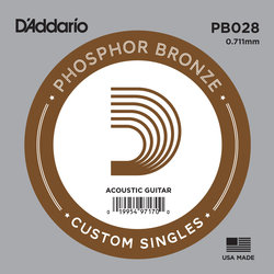 D'Addario PB028 Phospher Bronze Wound Single Acoustic Guitar String - 28
