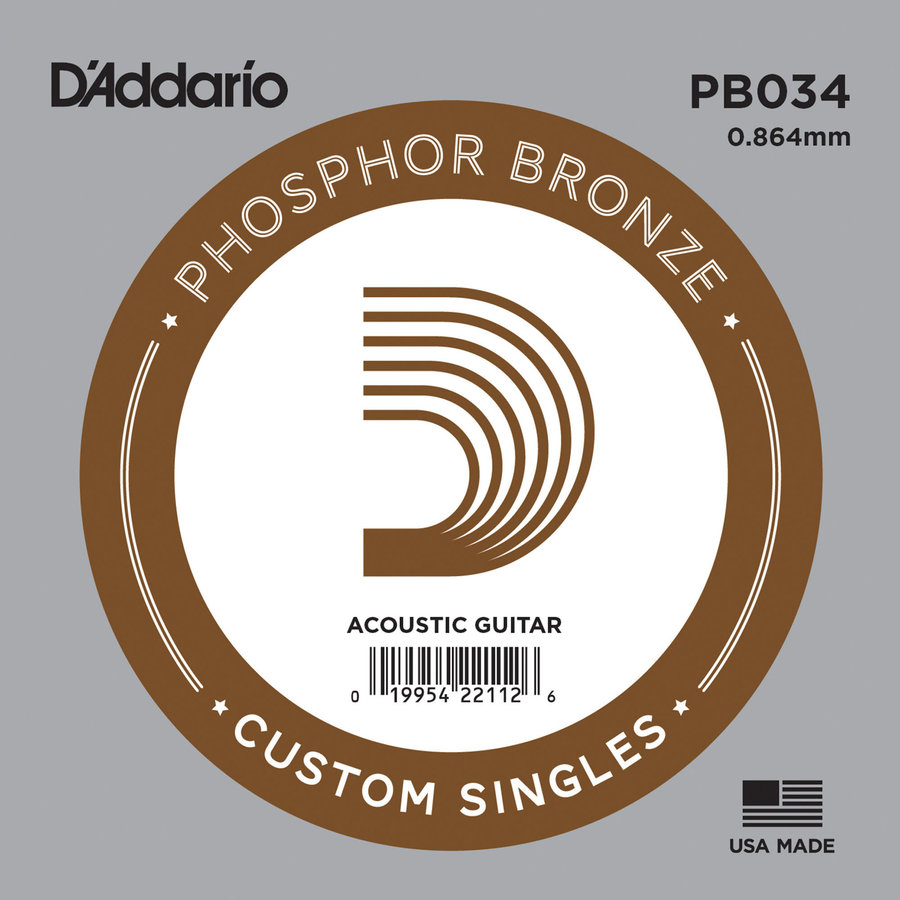 View larger image of D'Addario PB034 Phospher Bronze Wound Single Acoustic Guitar String - 34