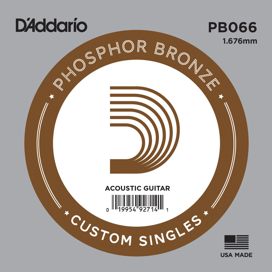 View larger image of D'Addario PB066 Phospher Bronze Wound Single Acoustic Guitar String - 66