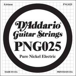 D'Addario PNG025 XL Pure Nickel Wound Electric Guitar Strings - 25