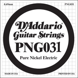 D'Addario PNG031 XL Pure Nickel Wound Electric Guitar Strings - 31