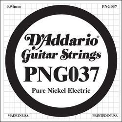 D'Addario PNG037 XL Pure Nickel Wound Electric Guitar Strings -