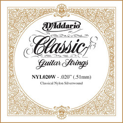 D'Addario Pro-Arte Single Classical Guitar String - Silver Wound, 20