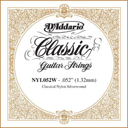 D'Addario Pro-Arte Single Classical Guitar String - Silver Wound, 52
