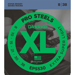 D'Addario ProSteels Electric Guitar Strings - Extra Light, 8-38