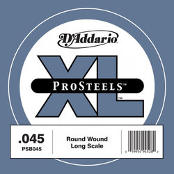 D'Addario PSB045 XL ProSteels Single Bass Guitar String - Long, 45