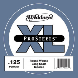 D'Addario PSB125T XL ProSteels Single Bass Guitar String - Round Wound, Tapered, Long, 125