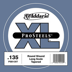 D'Addario PSB135T XL ProSteels Single Bass Guitar String - Round Wound, Tapered, Long, 135
