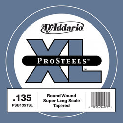 D'Addario PSB135TSL XL ProSteels Single Bass Guitar String - Round Wound, Tapered, Super Long, 135