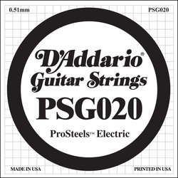 D'Addario PSG020 XL ProSteel Single Electric Guitar Strings - 20