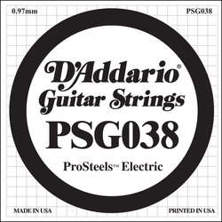 D'Addario PSG038 XL ProSteel Single Electric Guitar Strings - 38