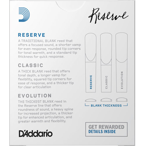 View larger image of D'Addario Reserve Bb Clarinet Reeds - #3, 25 Box