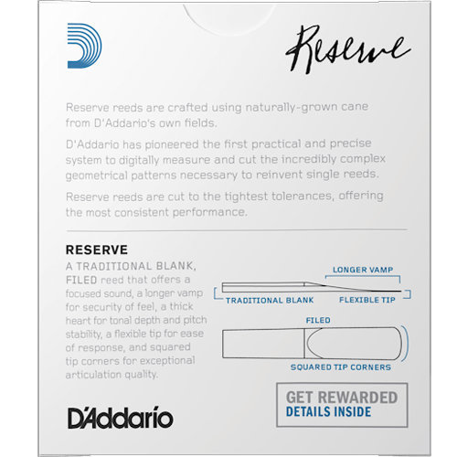 View larger image of D'Addario Reserve Eb Clarinet Reeds - #3-1/2+, 10 Box