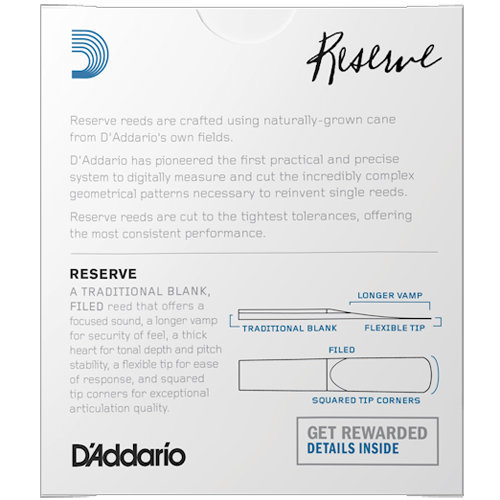 View larger image of D'Addario Reserve Eb Clarinet Reeds - #3-1/2, 10 Box