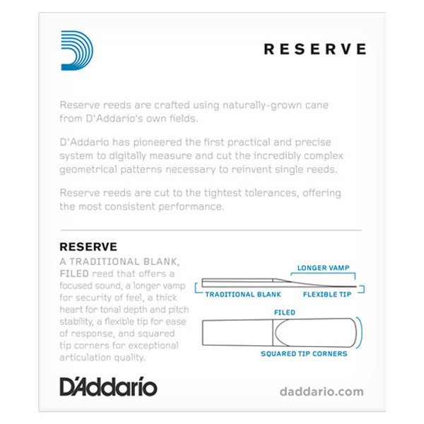 View larger image of D'Addario Reserve Eb Clarinet Reeds - #3, 10 Box