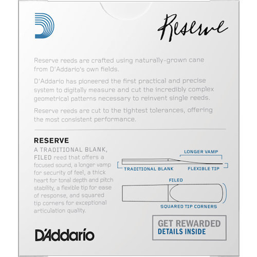 View larger image of D'Addario Reserve Eb Clarinet Reeds - #4, 10 Box