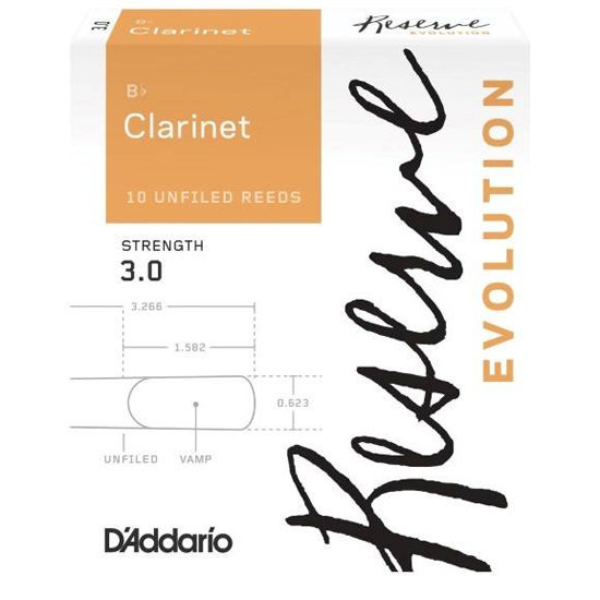 View larger image of D'Addario Reserve Evolution Bb Clarinet Reeds - #3, 10 Box