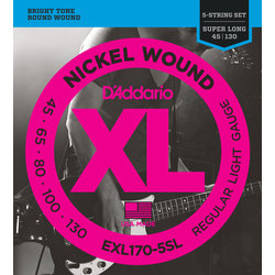 D'Addario XL Nickel Wound 5-String Bass Guitar Stings - Round Wound, Super Long, Light, 45-130