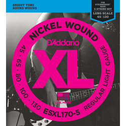 D'Addario XL Nickel Wound 5-String Bass Guitar Strings - Round Wound, Long, 45-130