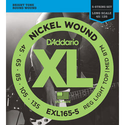 D'Addario XL Nickel Wound 5-String Bass Guitar Strings - Round Wound, Long, Custom Light, 45-135