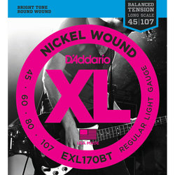 D'Addario XL Nickel Wound Bass Guitar Strings - 45-105