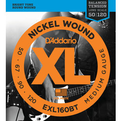 D'Addario XL Nickel Wound Bass Guitar Strings - Balanced, Medium/Long, 50-120