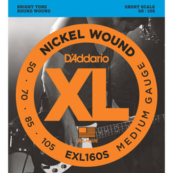 D'Addario XL Nickel Wound Bass Guitar Strings - Balanced, Medium/Short, 50-105