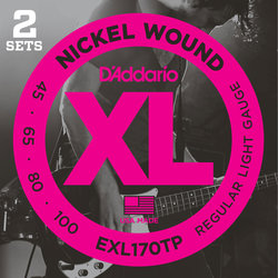 D'Addario XL Nickel Wound Bass Guitar Strings - Long, 45-100