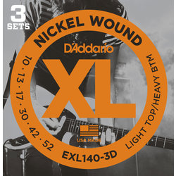 D'Addario XL Nickel Wound Electric Guitar Strings - Light / Heavy, 3 Pack