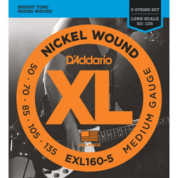 D'Addario XL Nickel Wound Electric Guitar Strings - Round Wound, Long, Medium, 50-135