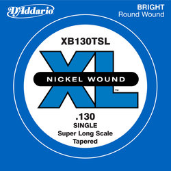 D'Addario XL Nickel Wound Single Bass String - Nickel Plated Steel, Super Long, Tapered, 130